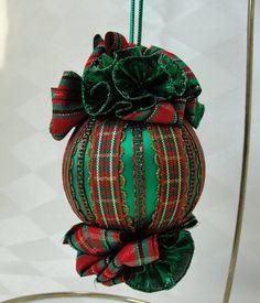 Handmade Satin Christmas Tree Ornament Christmas Plaid Ribbon  by Bobbyes Hobbies, $15.25