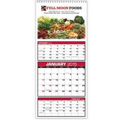 """Custom 3-Month View CalendarItem #MUQHD-HKAKK Based on a 12-sheet calendar with three months on each sheet. This custom calendar uses 12 full-color images. Low quantities perfect for smaller advertisers.  7"""" W x 16"""" H"""