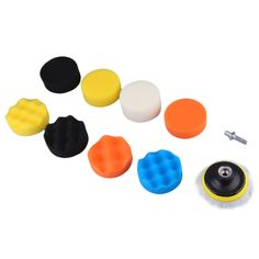 """10 Pieces Gross Polishing Buffer Pad Set 4"""" Buffing Pad Kit with 3 Pads 1 Backing Plate 5 Sanding Paper and 1/4"""" Drill Adaptor"""