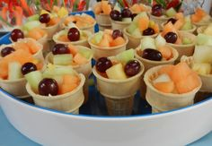 Serve fruit in an ice cream cone!  Lee would love that!
