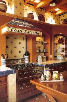 Blue yellow mexican tiles kitchen countertop and - Como decorar una cocina rustica ...