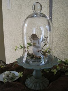 ADORABLE little Angel displayed SWEETLY under this BEAUTIFUL Cloche!