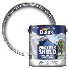 Dulux Weathershield Exterior Pure Brilliant White Satin Wood & Metal Paint 2.5L   Departments   DIY at B&Q