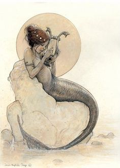 mermaid playing the harp - Celtic Faeries by Jean-Baptiste Monge Fantasy Creatures, Mythical Creatures, Fantasy Kunst, Fantasy Art, Illustrations, Illustration Art, Mermaid Illustration, Elfen Fantasy, Jean Baptiste