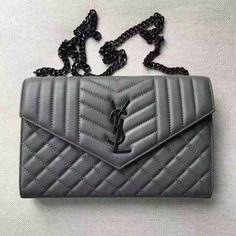 2017 S/S Saint Laurent Monogram Chain Wallet in Grey Mixed Matelassé Leather