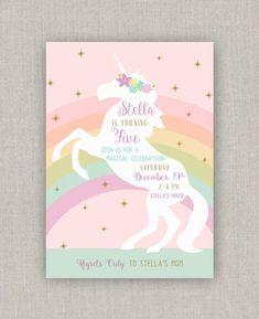 Magical Unicorn Birthday Invitation Girl Invitations Cards Party Invites