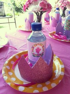 Pink princess birthday party place setting! See more party planning ideas at CatchMyParty.com!