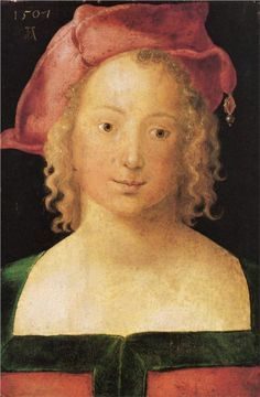 Face a young girl with red beret, 1507 Albrecht Durer
