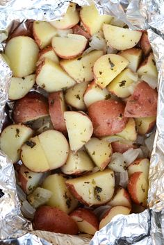 These foil pack grilled red potatoes are an easy side to add to any bbq. They are full of garlic-y flavor a hint of char!