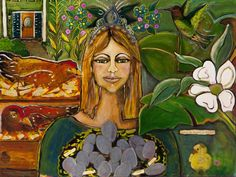 Counting Her Chickens as They Hatch is mixed media on canvas. It is 30 x 40 inches.   The original is $1500.  I heard this phrase somewhere and it sounded positive and expectant. The girl doesn't realize she is a goddess. There is abundance all around her. When I was painting, I had in mind rebuilding the parks and green spaces in New Orleans.