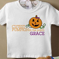 """OMG have the kids wear these when they go to the pumpkin patch to pick out their pumpkins and it would make the cutest picture ever! They're the """"Cutest Pumpkin In The Patch"""" Personalized Kids Clothes from PMall! They come in boy and girl designs on t-shirts, baby bibs, and a romper in different sizes! LOVE how they have their names! #Pumpkin #Halloween"""