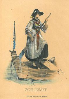 Schlierseerin in Sonntagstracht einen Kahn besteigend.    Altkol. Lithographie bei Mey & Widmeyer, München, um 1840