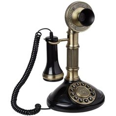 """Antique Brass 12"""" High Candlestick Phone ($120) ❤ liked on Polyvore featuring phones, fillers, vintage, decor, other and home accessories"""