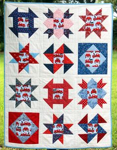 Quilt Square Patterns, Pattern Blocks, Square Quilt, Block Patterns, Patriotic Quilts, Lap Quilts, Quilts For Sale, Girls Quilts, Red White Blue