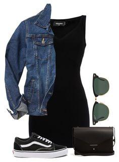 Robe noire, veste en jean