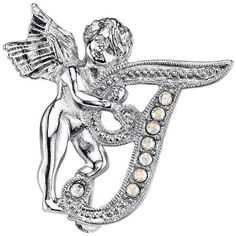 1928 Angel Script Initial Pin ($14) ❤ liked on Polyvore featuring jewelry, brooches, white, initial brooch, letter brooch, imitation jewelry, fake jewelry and imitation jewellery