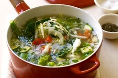 Garden Vegetable Soup  1/2 cup carrots, sliced  1/4 cup onions, diced  2 garlic cloves, minced  3 cups fat-free beef, chicken or vegetable broth  1 cup green cabbage, diced  1 cup spinach, chopped  1 tbsp tomato paste  1/2 tsp dried basil  1/4 tsp dried oregano  1/4 tsp salt  1 cup zucchini, diced