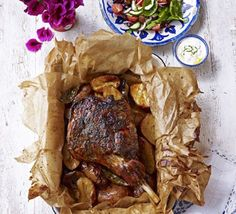 Lamb kleftiko from Greece. Seal a leg of lamb in a parcel then roast it long and slow with garlic, lemon and herbs, and potatoes to soak up the delicious juices Bbc Good Food Recipes, Meat Recipes, Cooking Recipes, Slow Cooker Lamb Recipes, Cooking Ribs, Lamb Dishes, Greek Dishes, Mediterranean Recipes, Greek Recipes