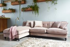 velvet blush pink l-shaped sofa from darlings of chelsea