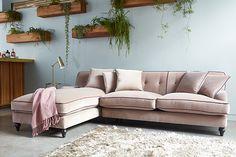 velvet blush pink l-shaped sofa from darlings of chelsea