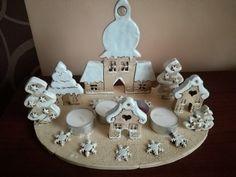 Zasněžená vesnička Pottery Handbuilding, Incense Burner, Polymer Clay Crafts, Christmas Themes, Advent, Candles, Sculpture, Deco, Holiday