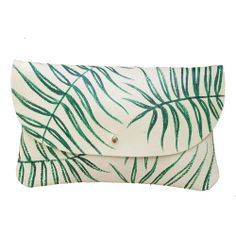 Wild Fern Leather Clutch - Hand Painted from Jessica Ulrich - Hunters Alley