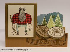 """Stampin´Up! Valentinskarte für echte Kerle mit den Stempelsets """"Wood you be mine"""" und """"Christbaumfestival"""""""
