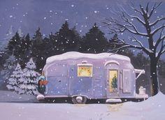 Vintage Christmas Trailer Home . makes me smile Christmas Note, Christmas Travel, Merry Christmas To All, Vintage Christmas Cards, Retro Christmas, Christmas Pictures, Christmas Ideas, Christmas Artwork, Antique Christmas