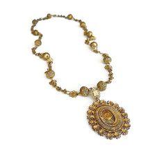 Philippines Tamborin Necklace Tambourine Gold by zephyrvintage