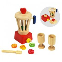 This pretend food blender set includes multiple fruit and vegetables along with a spoon and two cups.