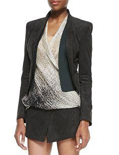 HALSTON HERITAGE Ultrasuede Shawl Collar Open Jacket