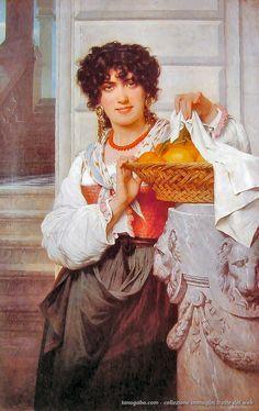 Pierre Auguste Cot – Ragazza con una cesta di arance e limoni