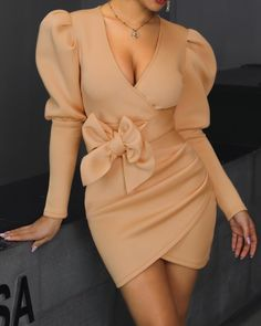 Puffed Sleeve Surplice Wrap Bodycon Dress dresses and accessories all over the world at competitive prices, and with a high level of customer care. Classy Outfits, Trendy Outfits, Fashion Outfits, Fashion Trends, Dress Fashion, Fashion Lingerie, Buy Dress, Wrap Dress, African Fashion Dresses