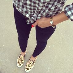 Mixing prints with a ginham button down shirt and some leopard slip ons from T.J.Maxx