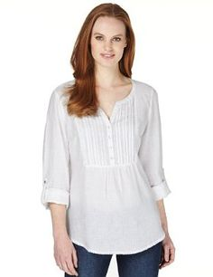Marks and Spencer Pure Linen Lace Trim Roll Up Shirt
