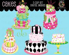 Cake Clip Art Digital Clip Art Cakes Cake Clipart by GreatGraphics, $5.00