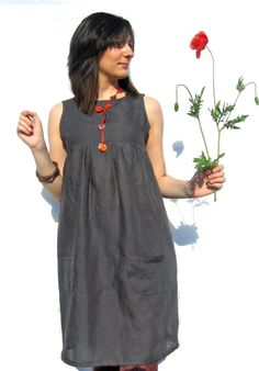 grey tunic dress with pockets