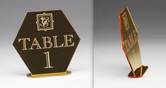 These show-stopping Mirrored Gold Acrylic table signs were designed by All That Glitters Invitations, made by us. Acrylic Table, Glitter Invitations, Table Signs, Fort Collins, All That Glitters, Acrylic Colors, Bar Mitzvah, 50th Anniversary, Corporate Events