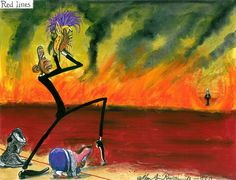 15 June 2013 - Martin Rowson on Obama and Syria. He is tiptoeing into the blood of war, with Cameron at his side.