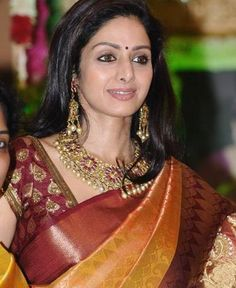 "I need to learn how to pleat like Sridevi. | ""South Indian Kanjeevaram Sari: Kanjeevaram Saris are made of pure heavy silk and are known for their durability. The sari is very traditional, where it is not affected by the latest fashion fads. The borders are woven with gold thread, and have motifs like elephants, flowers, paisleys, peacocks and parrots. They come in gorgeous color combinations and look good on everyone."""