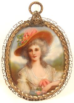"""Hand Painted Miniature Portrait On Ivory Under Glass, Of A Woman With Flowers Set In Gilt Metal Frame - Signed """"Nattier""""  c.18th Century"""