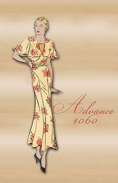 1930s Dinner Dress Pattern an Art Deco Dress with Flutter