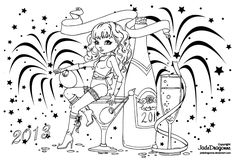 This is the lineart I made for the 2013 Happy New Year Cutie Pie Coloring Contest of There is a lot of cool prizes to win.You can find more info about t. Happy New Year Adult Coloring Book Pages, Coloring Pages To Print, Colouring Pages, Coloring Books, Outline Drawings, Cute Drawings, Colorful Drawings, Colorful Pictures, Butterfly Coloring Page