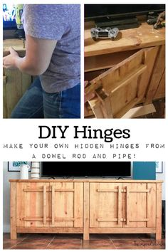 DIY Hinges - Make your own hinges from a dowel rod and pipe. Easily create your own no show hinges to complete this media console or any other piece of furniture that you build. Making your own hinges allows you to use thicker materials for doors and conceals the hinges!