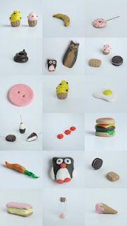 cake,banaan,lollie,drol,vogels,snoep,knoop,cake,ei,snoep,bloemetjes,hamburger, wortel,pinguin,snoep,cake,ijsje van fimo