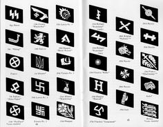 "Collar tabs (kragenspiegel) des volontaires étrangers de la Waffen-SS | Par colonne, de haut en bas puis de gauche à droite :  - Runes - 5. SS-Panzer-Division ""Wiking"" - 33. Waffen-Grenadier-Division der SS ""Charlemagne"" (französische Nr. 1) - 7. SS-Freiwilligen-Gebirgs-Division ""Prinz Eugen"" - 11. SS-Freiwilligen-Panzergrenadier-Division ""Nordland""  - 13. Waffen-Gebirgs-Division der SS ""Handschar"" (kroatische Nr. 1) - 14. Waffen-Grenadier-Division der SS ..."