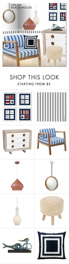 """Dream Beach House"" by ansev ❤ liked on Polyvore featuring interior, interiors, interior design, home, home decor, interior decorating, Global Views, Zuo, ET2 and Jonathan Adler"