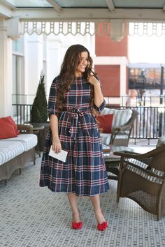 Modest Highlands Dress with navy, red, and white plaid. Modest bridesmaid dresses, ruffles, lace, modest apparel. www.daintyjewells.com