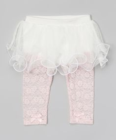 Another great find on #zulily! Baby Starters White & Light Pink Floral Lace Skirted Leggings by Baby Starters #zulilyfinds