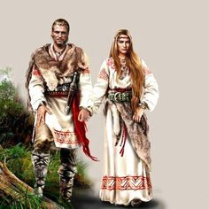 Idealized stylistic representation of an ancient Slavic couple. Awww. (From a historical standpoint, at least they like each other-her father probably sold her for a cow or something.)